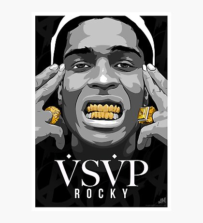 Gold Grills - ASAP Rocky Illustration Photographic Print