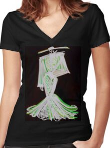 Painted Black Women's Fitted V-Neck T-Shirt