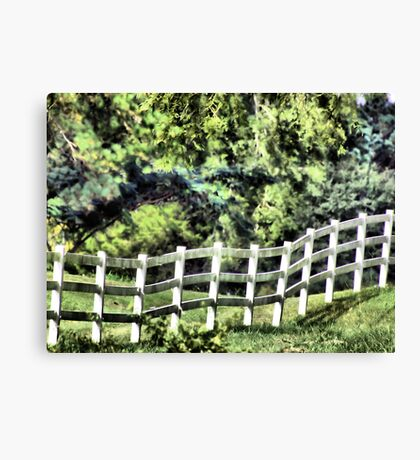 little white fence Canvas Print