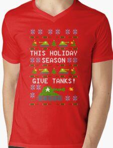 Ugly Christmas Sweater - This Holiday Season Give Tanks! Mens V-Neck T-Shirt