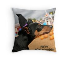 Happy Howl-O-Ween Throw Pillow