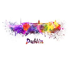 Dublin skyline in watercolor Photographic Print
