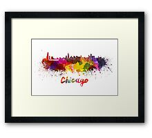Chicago skyline in watercolor Framed Print
