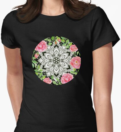 Peach Pink Roses and Mandalas on Black and White Lace Womens Fitted T-Shirt