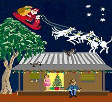 Six white boomers - Santa in Australia by goanna