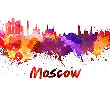 Moscow skyline in watercolor by paulrommer