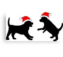 Puppies in Christmas Hats Canvas Print