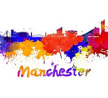 Manchester skyline in watercolor by paulrommer