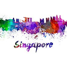 Singapore skyline in watercolor by paulrommer