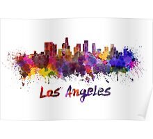 Los Angeles skyline in watercolor Poster