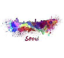 Seoul skyline in watercolor Photographic Print