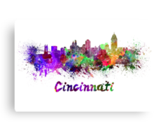 Cincinnati skyline in watercolor Canvas Print
