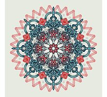 Coral & Teal Tangle Medallion Photographic Print