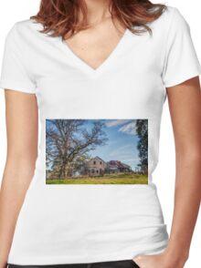 Christmas Hills Raspberry Farm Women's Fitted V-Neck T-Shirt