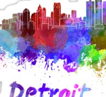 Detroit skyline in watercolor Sticker
