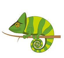 Funny smiling cartoon chameleon by berlinrob