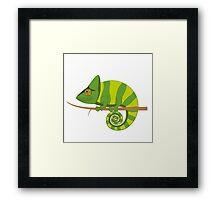 Funny smiling cartoon chameleon Framed Print