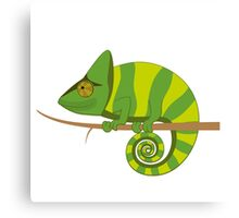Funny smiling cartoon chameleon Canvas Print