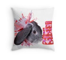 Valentines Day Rabbit Throw Pillow