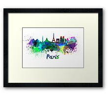 Paris skyline in watercolor Framed Print