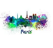 Paris skyline in watercolor Photographic Print