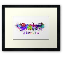 Amsterdam skyline in watercolor Framed Print