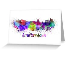 Amsterdam skyline in watercolor Greeting Card