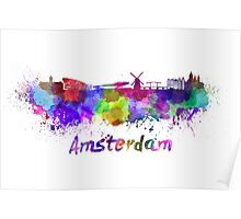 Amsterdam skyline in watercolor Poster
