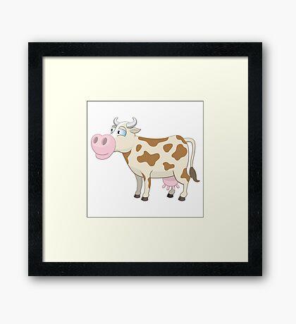 Friendly cartoon cow Framed Print