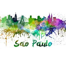 Sao Paulo skyline in watercolor by paulrommer