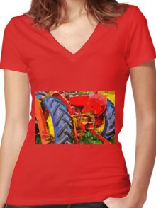 Abandoned rusty old tractor Women's Fitted V-Neck T-Shirt