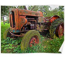 Old vintage tractor digital art Poster