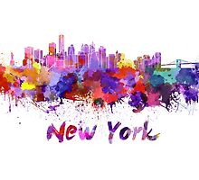 New York skyline in watercolor by paulrommer