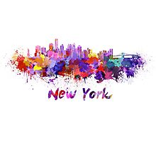 New York skyline in watercolor Photographic Print