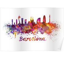 Barcelona skyline in watercolor Poster