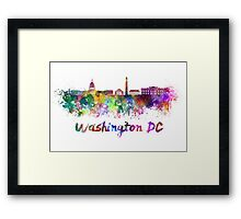 Washington DC skyline in watercolor Framed Print