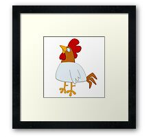Funny cartoon rooster Framed Print