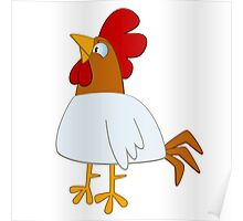 Funny cartoon rooster Poster