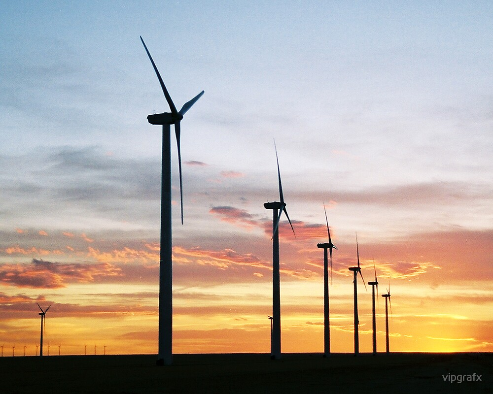 Wind Turbines at Sunset by vipgrafx