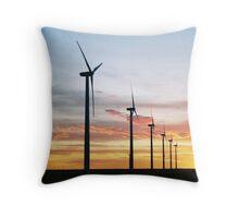 Wind Turbines at Sunset Throw Pillow