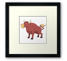 Funny cartoon bull Framed Print