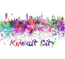 Kuwait City skyline in watercolor by paulrommer