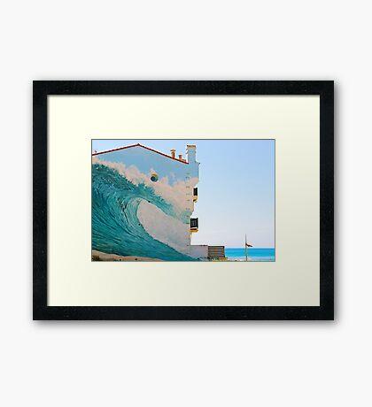 The Wave Trompe l'oeil - Hossegor, France. Framed Print