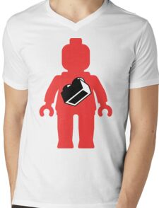 Red Minifig with 1 x 2 Brick Logo, Customize My Minifig Mens V-Neck T-Shirt
