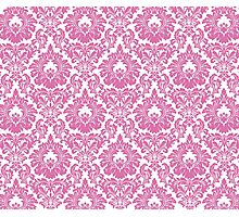 Retro Fleur De Lis Wallpaper Design in Candy Pink Photographic Print
