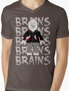 BRAINS BRAINS BRAINS BRAINS BRAINS Mens V-Neck T-Shirt