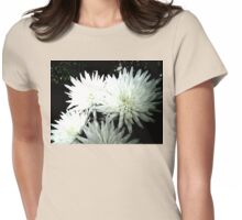 Snow Flower black and white chrysanthemum photography art Womens Fitted T-Shirt
