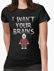 I WANT YOUR BRAINS ZOMBIE MINIFIG Womens Fitted T-Shirt