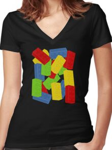 Colored Bricks Women's Fitted V-Neck T-Shirt