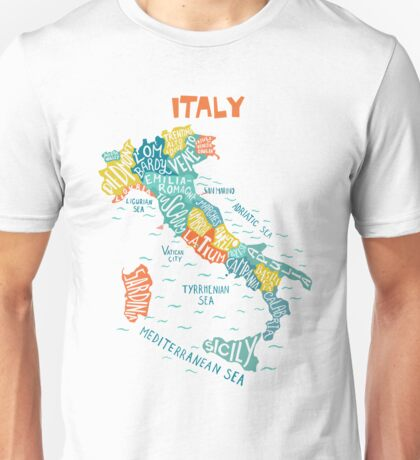 Italy decorative hand drawn map with regions. Unisex T-Shirt